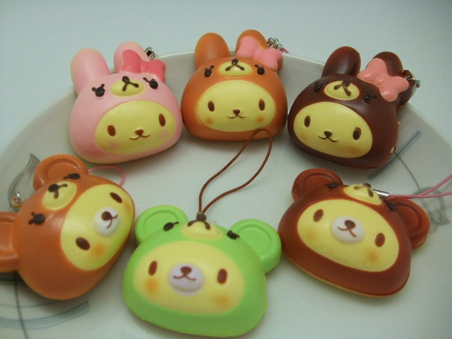 kawaii 5cm cute Bunny and Bear macaroon squishy cell phone/bag charm strap pink+ browm PU squishy fashion mix colors order