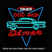 Neon Sign CAR DINER DRIVE Doo Wop Garage Neon Bulb Business Windows Car Wall Lamp Affiche Neon Neon Signs Store Display VD19x15(China (Mainland))