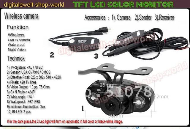 Free Shipping !!!  Hot Car camera Wireless Rear View CMOS Waterproof Night Vision Camera