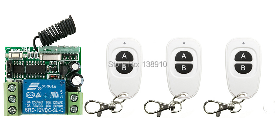 Hot Sales Wireless RF Remote Control Switch teleswitch DC12V 1CH 10A 3PCS Transmitter With Battery+ Receiver Access/door System(China (Mainland))