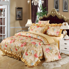 Flower golden Europe jacquard satin cotton bedding sets queen king size 4pc or 6pcs bed sheets set(China (Mainland))