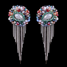 Europe and the United States of Bohemia hand crafted pure crystal earrings earrings EA-04229 multi Tassel Earrings(China (Mainland))