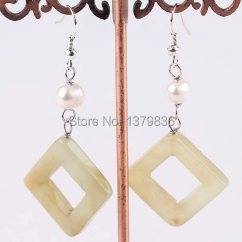 Fashion Design Three Color Jade and White Pearl Earrings(China (Mainland))