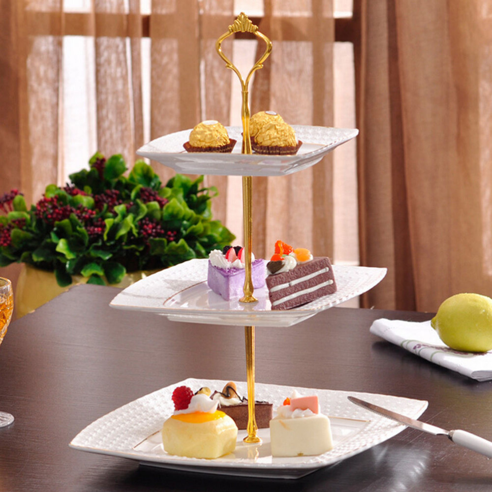 6colors 2 or 3 Tier Cake Plate Stand Handle Crown Fitting Metal Wedding Party Silver Gold Free Shipping(China (Mainland))