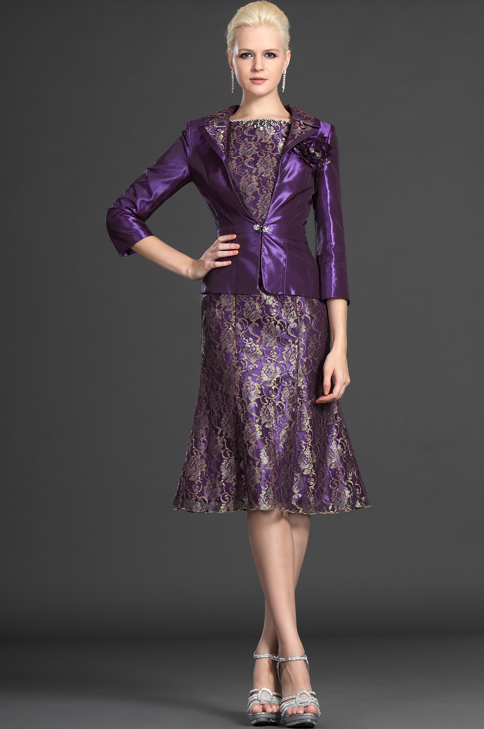 A line knee length three quarter short lace purple for Dress and jacket outfits for weddings