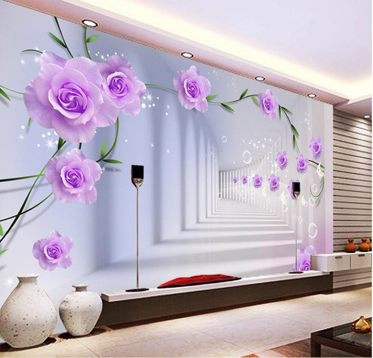 Elegant Photo Wallpaper Custom 3D Wall Murals Purple Flowers Wallpaper Kids B