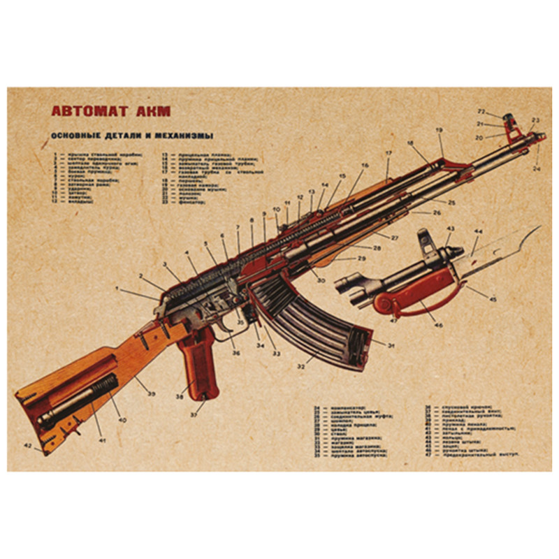 AK47 improved structure chart kraft posters world famous gun wall stickers home decoration club vintage wallpaper free shipping(China (Mainland))