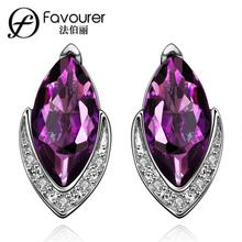 Platinum Plated big Crystal earrings for women Bridal wedding Jewelry sapphire amethyst blue Purple stone Rhinestone elegant(China (Mainland))