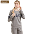 Autumn Cotton Women Pajama Sets Full Sleeve Sleep Lounge Letter Printed Pijama Home Clothes Casual Round