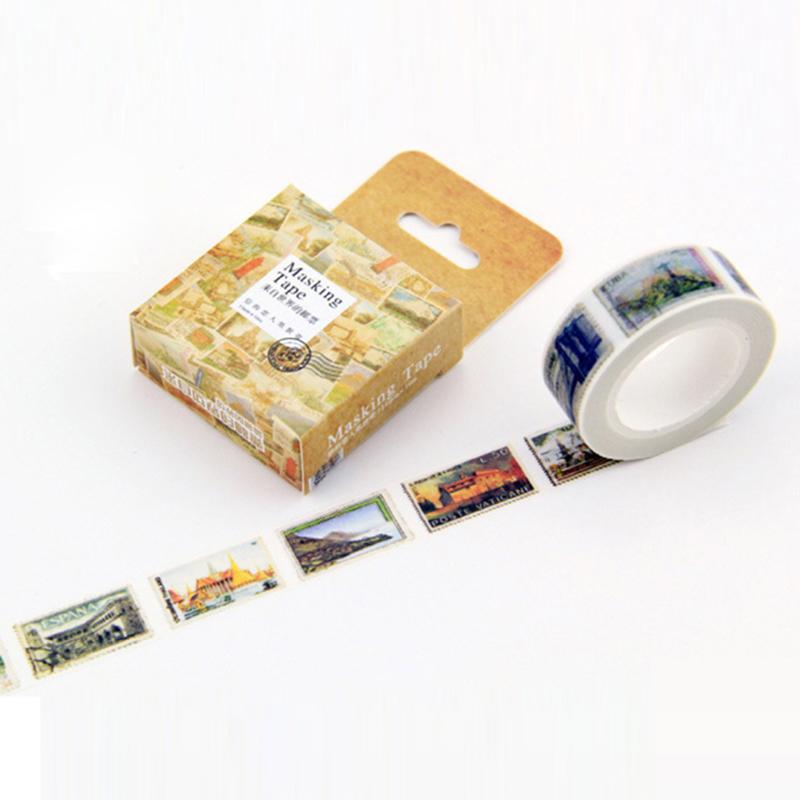 DIY Vintage postage stamp Size 15 mm paper japanese washi tape decorative adhesive tapes 10m /scrapbooking/School Supplies(China (Mainland))
