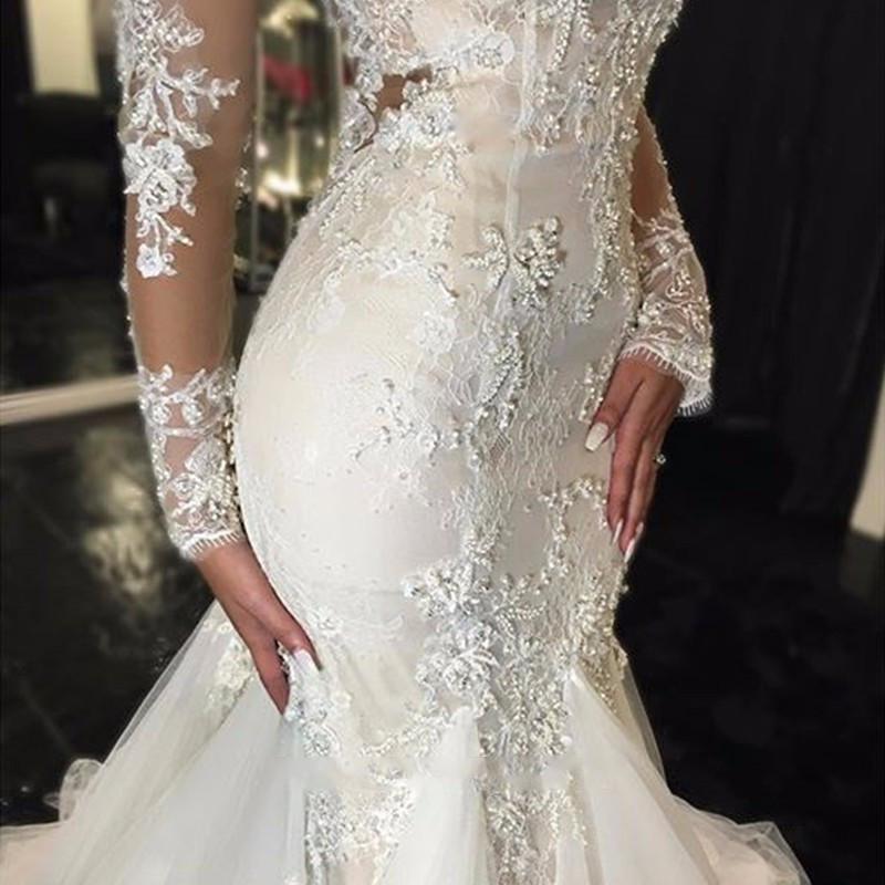 Cheap Vintage 2016 Long Sleeves Mermaid Wedding Dresses Vestido De Noiva 2016 Lace Wedding Dress Bride Dress Robe De Mariage