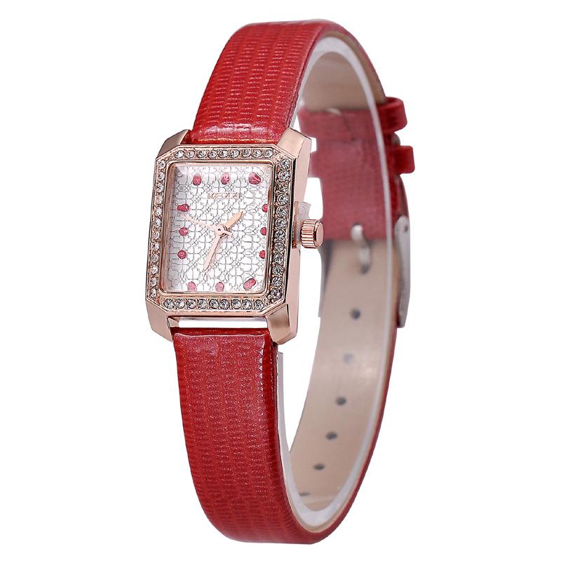 JW713 Diamond Imitation Rectangle Case Women Dress Watch 18K Gold Plating Water Resistant Relojes PU Leather Strap Wristwatch(China (Mainland))