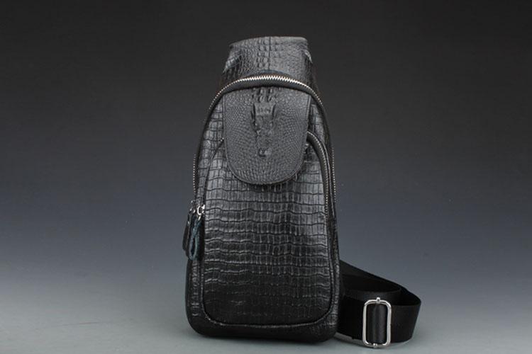 Chest pack tide male crocodile leather shoulder messenger bag leather satchel man bag pockets(China (Mainland))