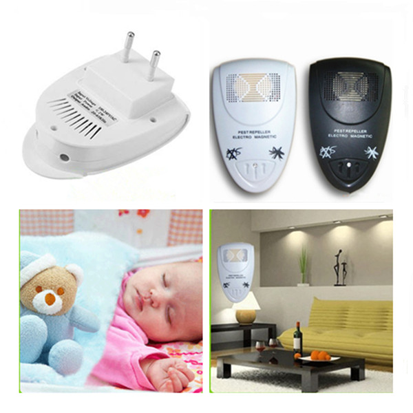 1PC White/Black Ultrasonic Electronic Anti Mosquito Insect Pest Rat Bug Mouse Repellent Electro Repeller Magnetic Wholesale(China (Mainland))