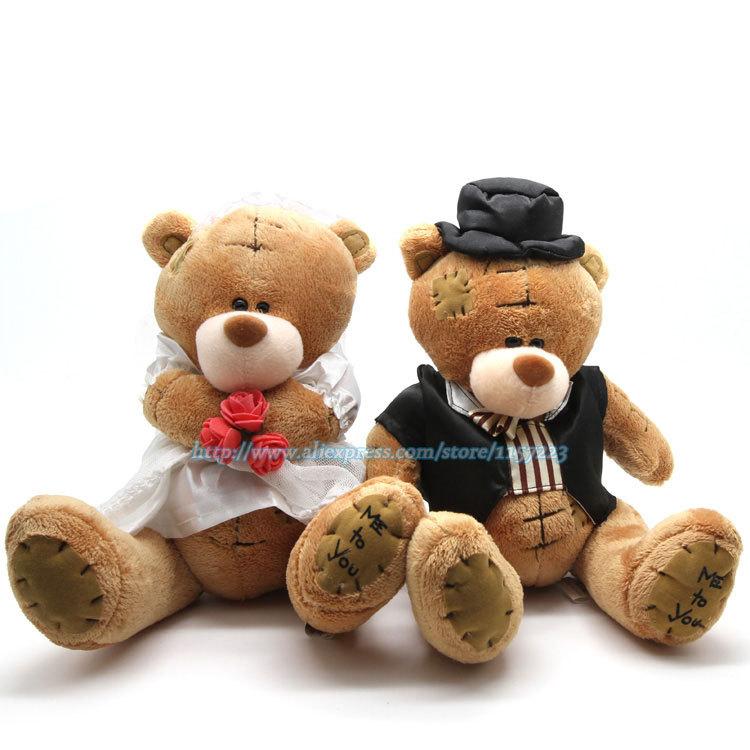 High Quality 1pair Big Couple Bear Wedding Teddy Bear Plush Wedding Toys Gift Bride&Groom Bear Wedding Dress Bears 25cm/9.8in(China (Mainland))