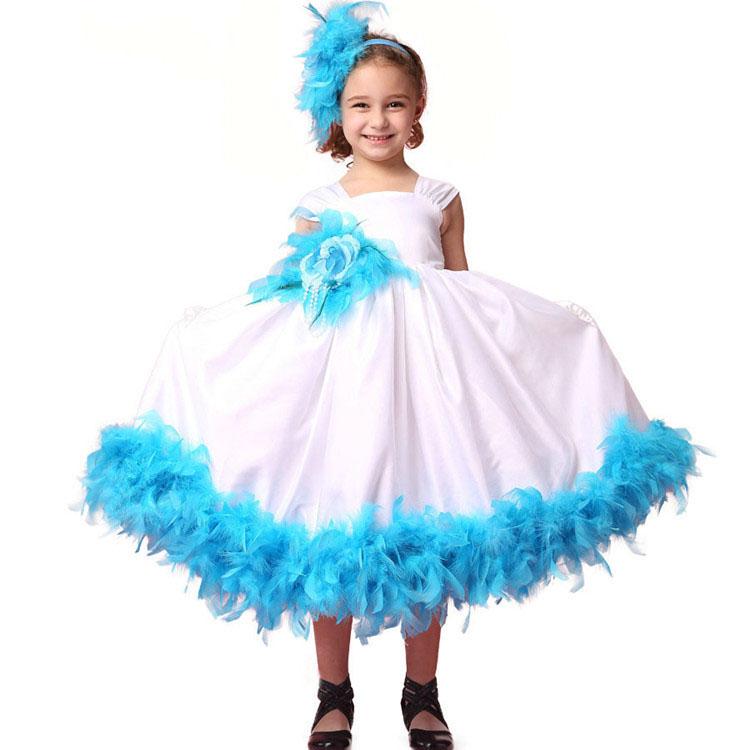 hot sale mini pretty blue princess prom party little girl dresses 2016(China (Mainland))