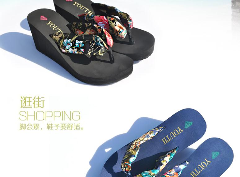 2015 Lady's Sandal Flip Flops Slippers Women Wedges Thong Sandals Plataforma Bohemian Silk Summer Sandals High-heeled Sandals