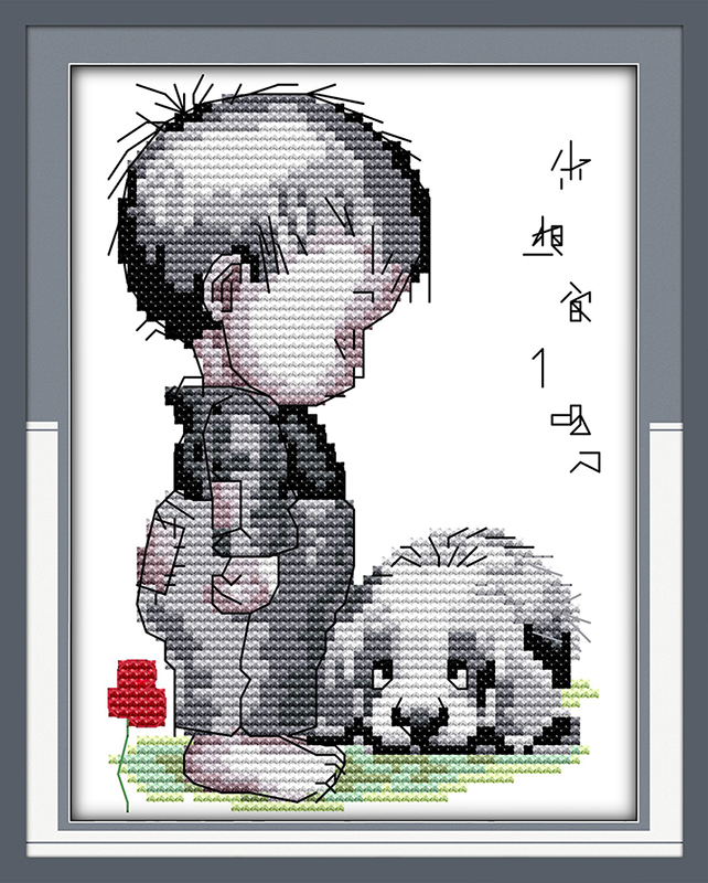 Boy and dog Counted Cross Stitch 11CT Printed 14CT Cross Stitch Set DIY Chinese Cotton Cross-stitch Kit Embroidery Needlework(China (Mainland))