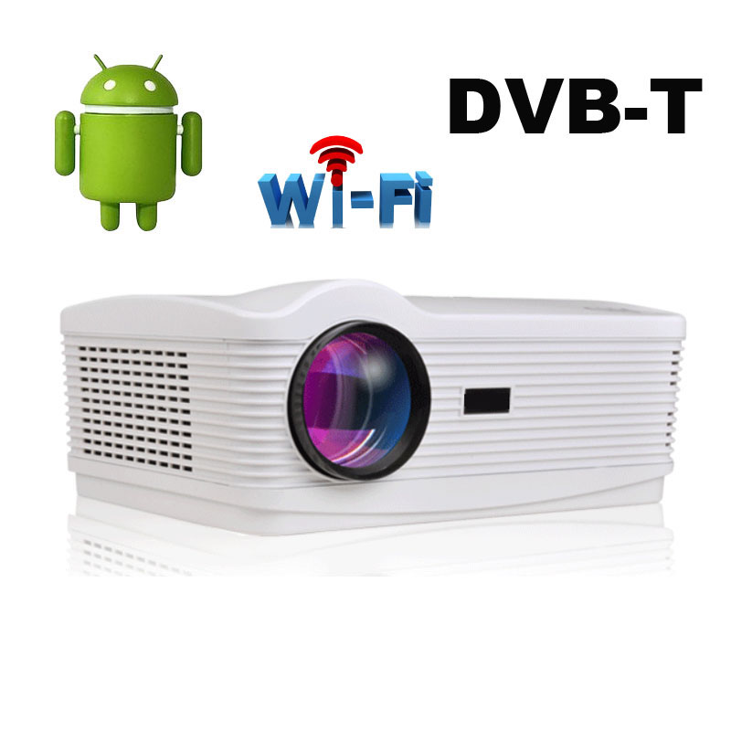 Free Screen Quad core Android 4.4 Wifi 5500Lumen DVBT TDT digital TV Led 3D Home Projector Full HD 1080P Multimedia Video Beamer(China (Mainland))