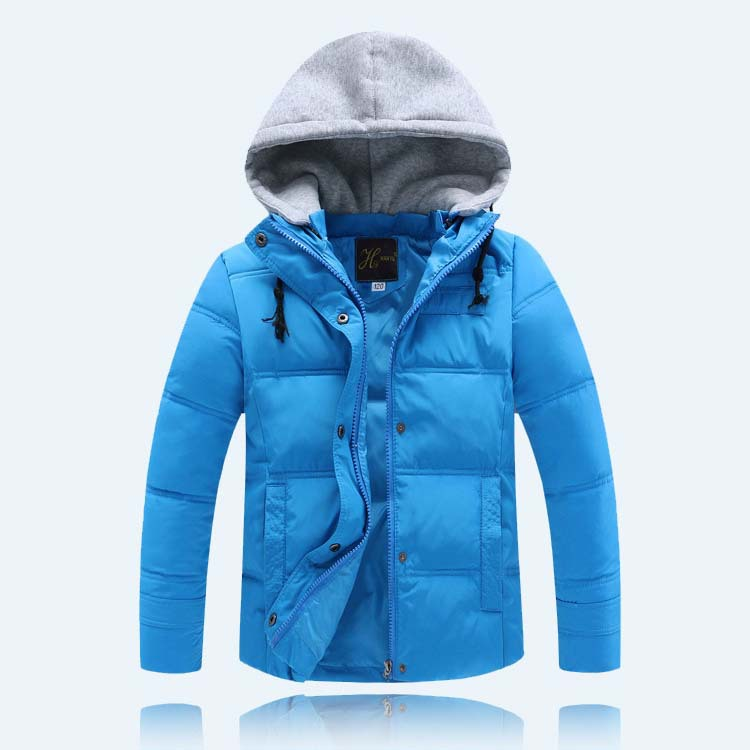 2015 new style boys winter coats children fashion thick hooded solid jacket with white duck down boys trench coat kids cloths(China (Mainland))