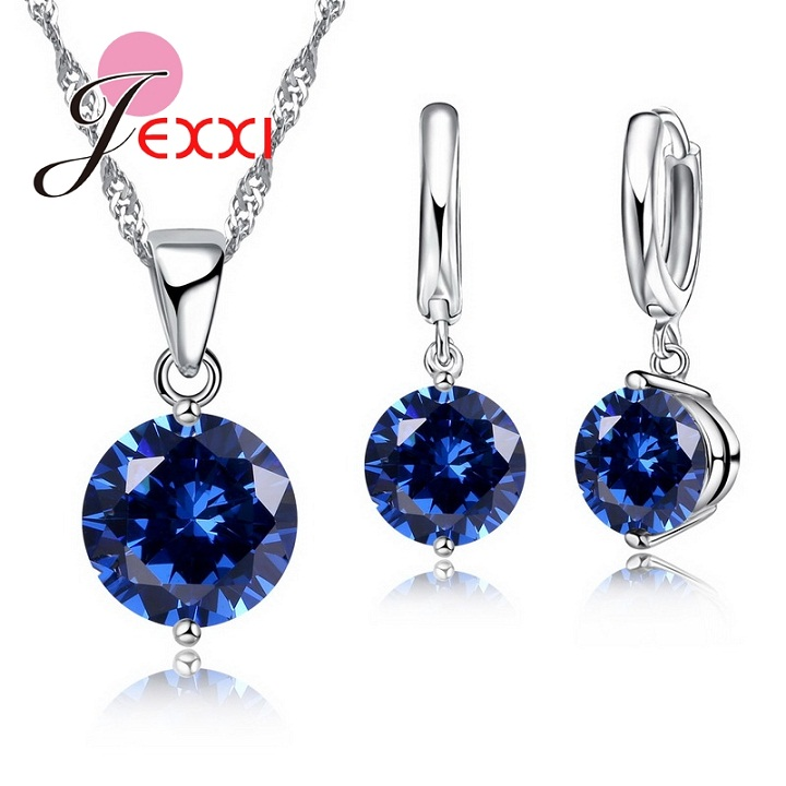 JEXXI Charm 925 Sterling Silver Jewelry Sets 8 Colors Cubic Zircon Pendant Set Anniversary Earrings Necklace Accessories(China (Mainland))