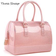 silicone beach bag jelly candy color bag waterproof women handbags pink hand bags women transparent bags bolsas sac a main