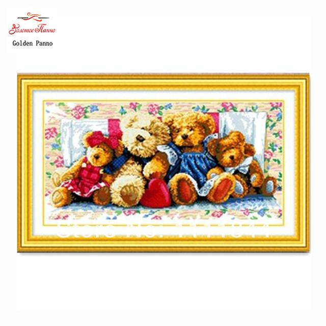 Рукоделие, вышивка крестом, Наборы Для комплект Для вышивания, DIY DMC семья медведей изображение Patterns Вышивания Крестиком-Колющими, Рождество искусства