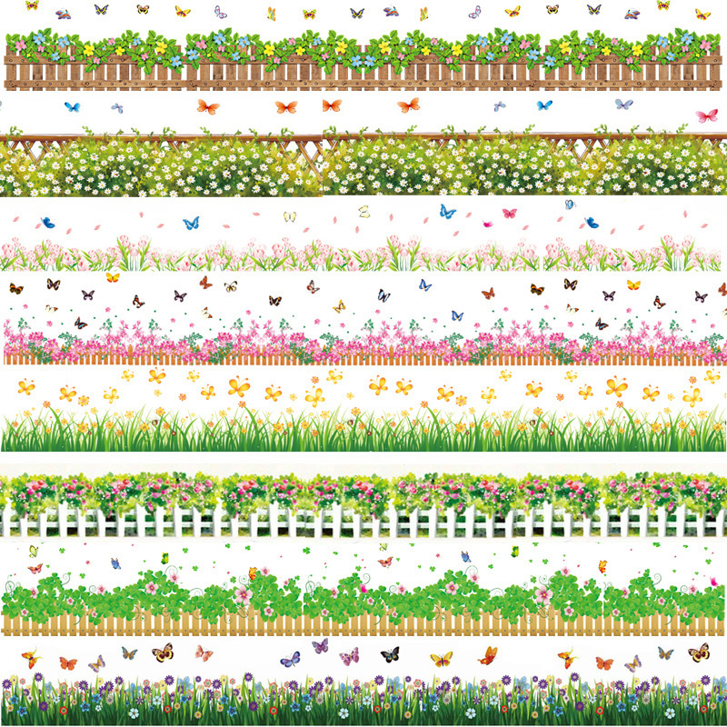 Waterproof flowers border wallpaper wall stickers for Temporary wallpaper border