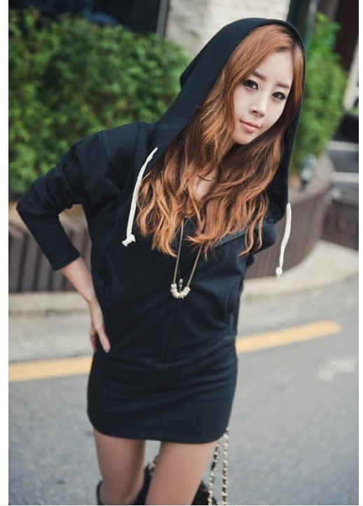 2014 Spring & Autumn Women Casual Back Wing Printed Hoodie Coat Black/Gray Long Sleeve Zipper Tops - Dress Up Your Life store