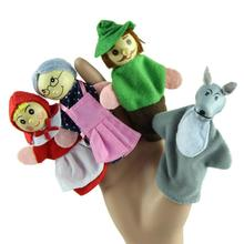 4PCS Little Red Riding Hood Finger Puppets Christmas Gifts Baby Educational Toy(China (Mainland))