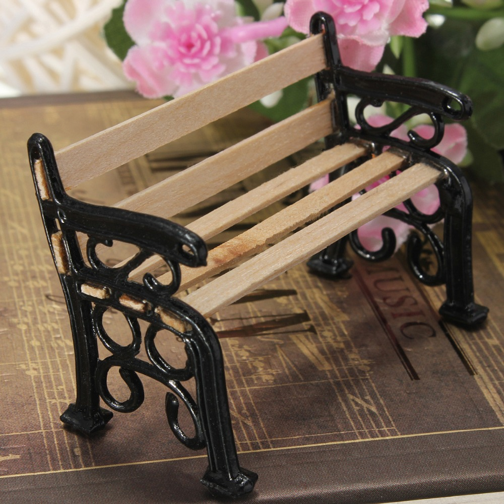 1:12 Wooden Bench Stool Chair Black Metal Dolls House ...