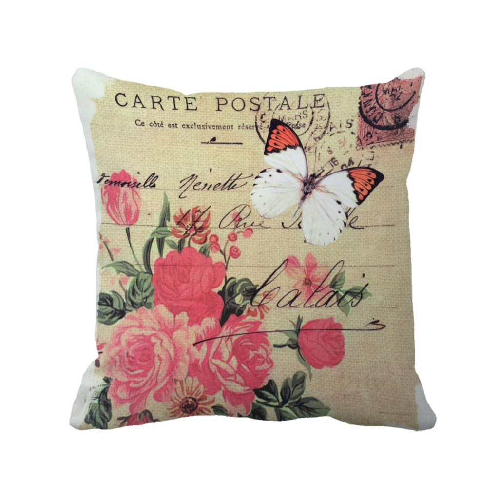 butterfly with flora in carte postale printed custom decorative cushion covers vintage throw. Black Bedroom Furniture Sets. Home Design Ideas