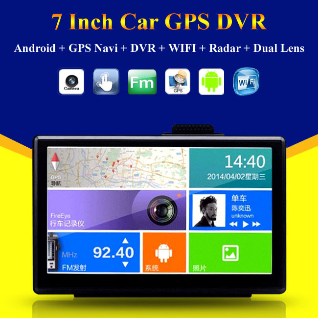Android 4.4 Auto Vehicle Navitel 7 inch GPS Navigator Navigation Sat Nav Tablet PC wifi Navi Car DVR Radar Detector FM camera(China (Mainland))