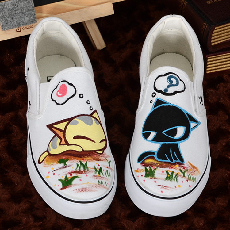 Custom hand painted shoes cat fish shoes for lovers canvas - Peinture pour chaussure ...