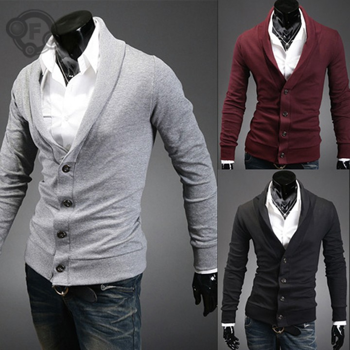 2015 male 100% cotton casual V-neck sweater slim cardigan sweater for men fashion cashmere 5color 4Size Drop shipping(China (Mainland))