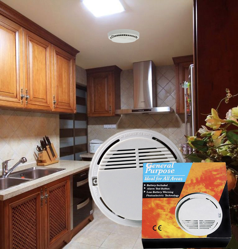 Discount High Sensitive Photoelectric Home Security System Smoke Detector Fire Alarm, Free Shipping(China (Mainland))