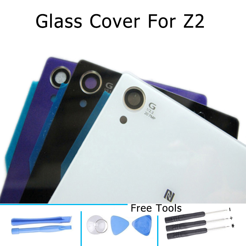 Rear Waterproof Door Back Glass Battery Cover for Sony Xperia Z2 L50 L50w D6503 D6502 D6543 With Adhesive Black White PurPle(China (Mainland))