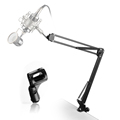 Microphone Scissor Arm Stand with Table Mounting Clamp BLACK and Microphone Clip for Multi Brand Microphone