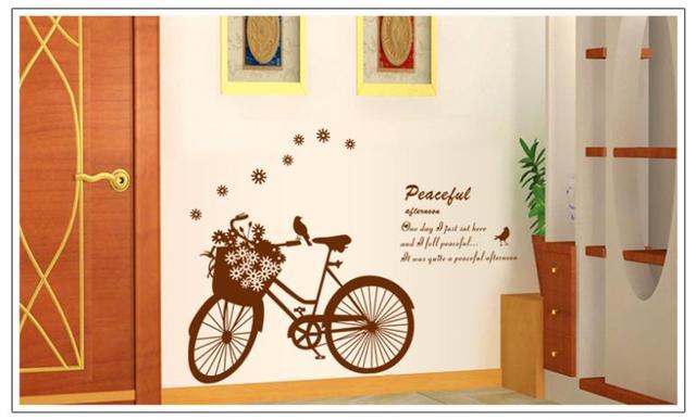 Бесплатная доставка велосипед цветочные птицы стены стикеры этикеты DIY украшения дома 7021 настенная съемный номер стикера 60 * 90 см
