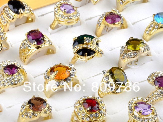wholesale jewelry lots 20pcs 18K gold plated cz rings mulcticolor crystal wedding rings fashion rings for women Free Shipping(China (Mainland))