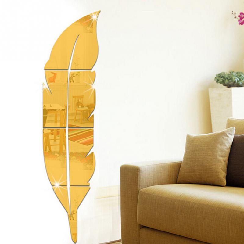 Minimalist Home Feather Mirror Wall Stickers Feather Tip Right Mirror Wall Stickers Classic Mirror Wall Stickers Decoration