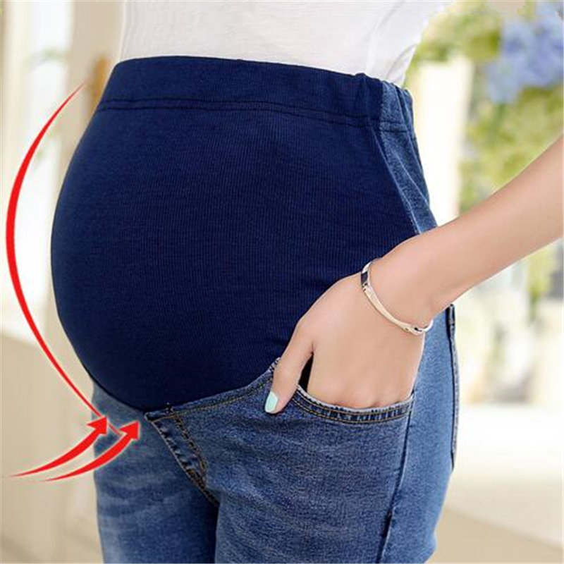 Maternity jeans hot sale 2017 new fashion Flower Patch pregnant women pants,adjustable elastic waist care belly pants Y68