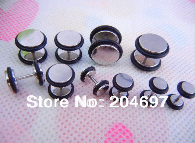 6-12mm Mix 80pcs Stainless Steel Fake Ear Plug Double O-ring Cheater Expander Plugs Body Piercing Jewelry Free Shipping