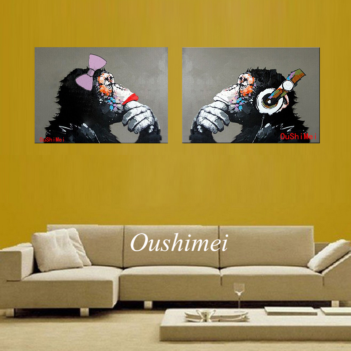Decorative Art Handmade Monkey Oil Painting On Canvas Living Room Home Decor Wall Paintings Thinking Orangutan Animal Pictures(China (Mainland))