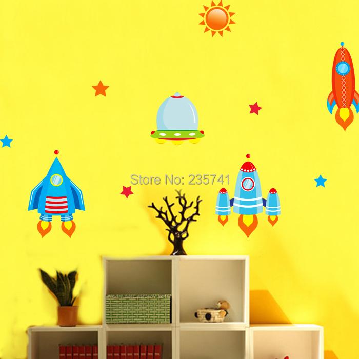 Cartoon Wall Sticker Robot Flying Saucer Rocket Stickers Nursery Children's Room Decorative Decals Wall Stickers Kids ZooYoo(China (Mainland))