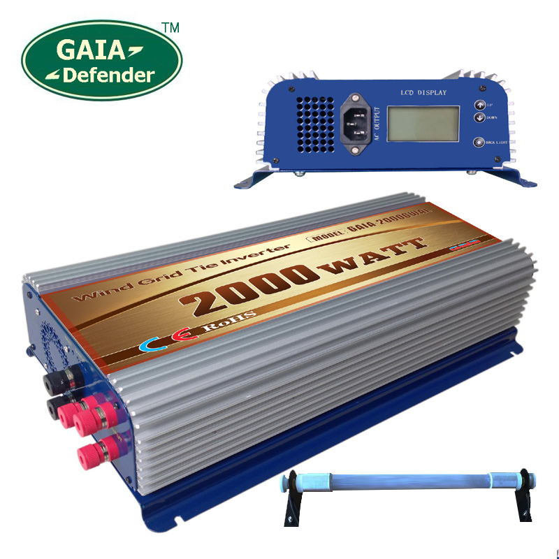 2000W LCD display Wind Power Grid Tie Inverter with Dump Load Controller Resistor for 3 Phase wind turbine(China (Mainland))