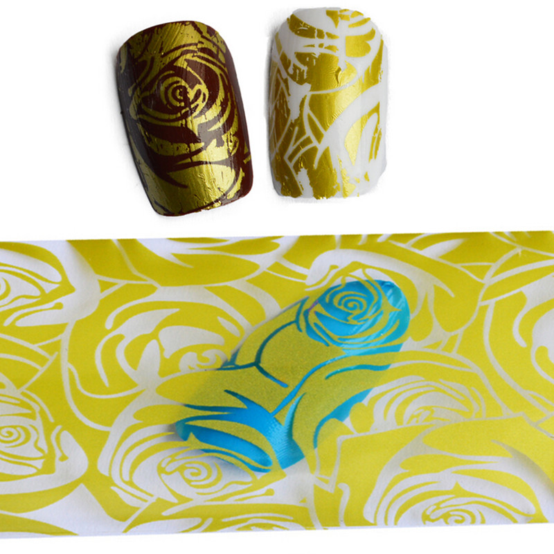 1pcs 100cmx4cm New Fashion Yellow Rose Nail Art Foil Transfer Stickers Nail Decals Tips Decoration Manicure Tool STZXK20(China (Mainland))