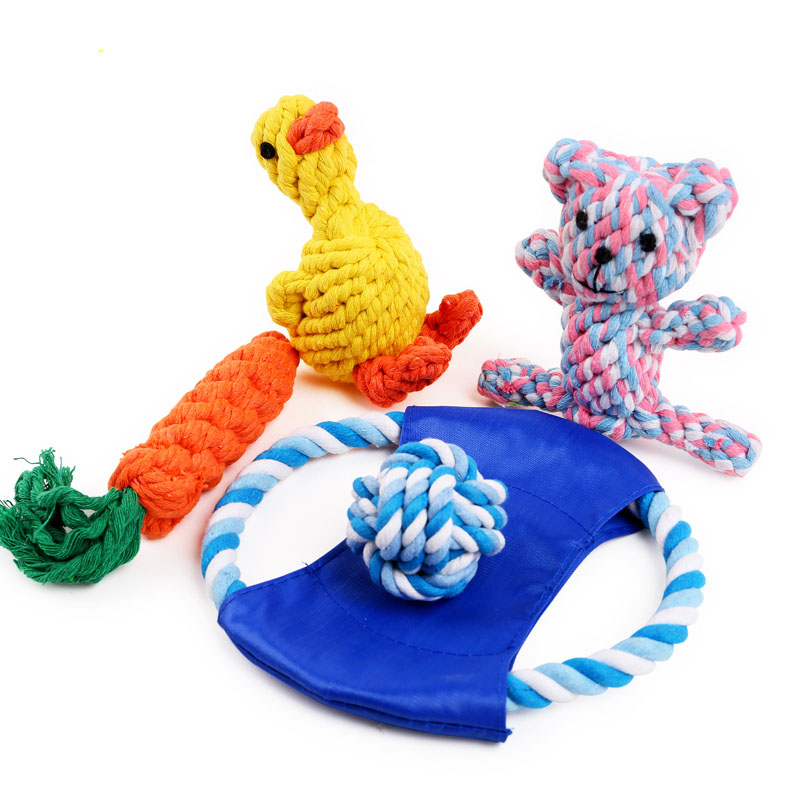 Pet Cat Dog Cotton Chew Knot Toy, Puppy Squeaker Squeaky Plush Sound Toys, Teeth Cleaning Rope Toys, 12 Types Wholesale(China (Mainland))