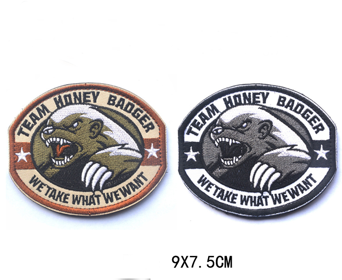 5 pcs/set 2 color Optional 3D Honey badger team armband magic tape embroidered patch For Clothes Garment Applique(China (Mainland))
