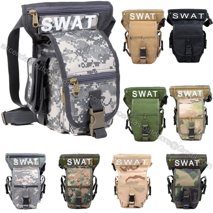 SWAT 600D Nylon Tactical Leg Bag Waterproof Camouflage Multifunction Airsoft Waist Hunting Military Paintball Pouch - Ascendas Outdoors store